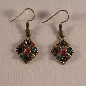 Gold Multi Color Crystal Diamond Earrings HypoA Hk